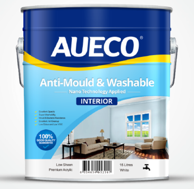AUECO® Professional Anti-Mould & Washable Interior Wall Paint 15L