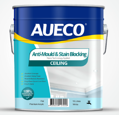 AUECO® Anti-Mould & Stain Blocking Ceiling Paint 15L